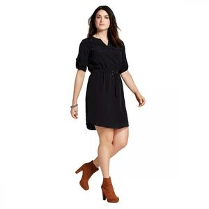 NWT Mossimo Convertible Shirt Dress Small Black